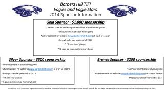 Barbers Hill TIFI Eagles and Eagle Stars 2014 Sponsor Information