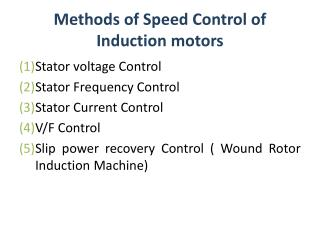 Methods of Speed Control of Induction motors