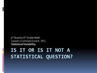 Is it or is it Not a Statistical Question?