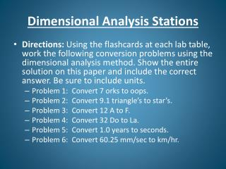 Dimensional Analysis  Stations