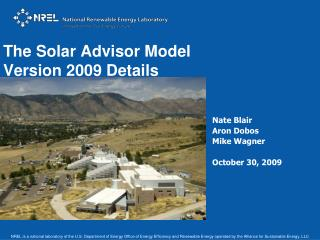 NREL is a national laboratory of the U.S. Department of Energy Office of Energy Efficiency and Renewable Energy operated