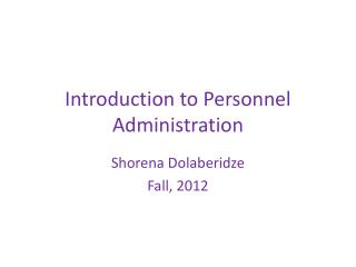 Introduction to Personnel Administration