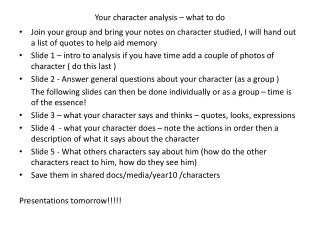 Your character analysis – what to do
