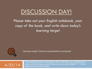 Discussion day!