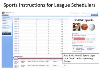 Sports Instructions for League Schedulers