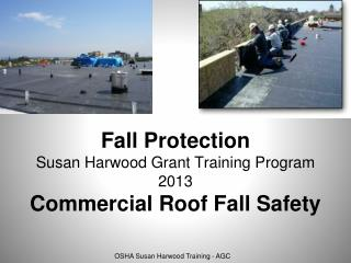 Fall Protection Susan Harwood Grant Training Program 2013 Commercial Roof Fall Safety