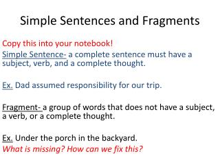 Simple Sentences and Fragments