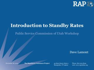 Introduction to Standby Rates