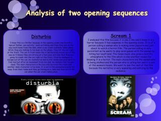 Analysis of two opening sequences