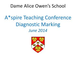 Dame Alice Owen's School A*spire Teaching Conference Diagnostic Marking June 2014