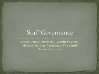 Staff Governance