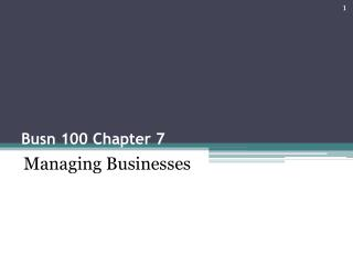 Busn 100 Chapter 7