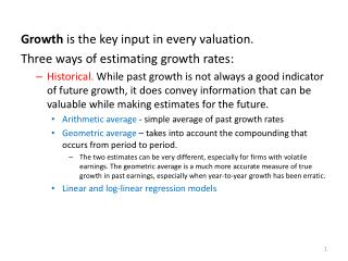 Growth is the key input in every valuation. Three ways of estimating growth rates:
