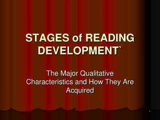 STAGES of READING DEVELOPMENT`