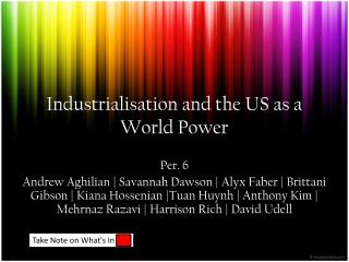 Industrialisation and the US as a World Power