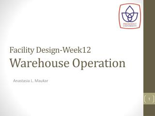 Facility Design-Week12 Warehouse Operation