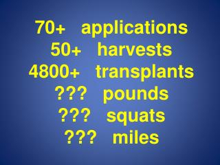 70+   applications 50+   harvests 4800+   transplants ???   pounds ???   squats ???   miles