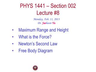 PHYS  1441  – Section  002 Lecture  #8