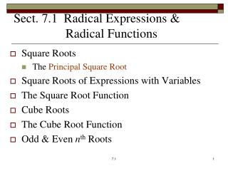 Sect. 7.1  Radical Expressions &   Radical  Functions
