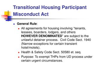 Transitional Housing Participant Misconduct Act