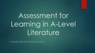 Assessment for Learning in A-Level Literature