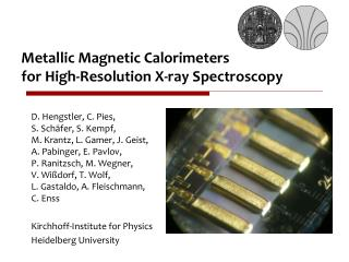Metallic Magnetic Calorimeters  for High-Resolution X-ray Spectroscopy