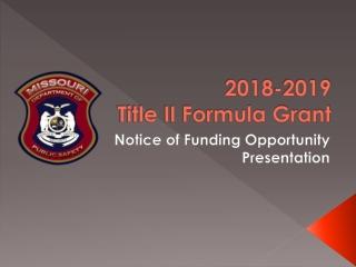 2018-2019 Title II Formula Grant