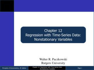 Chapter 12 Regression with Time-Series Data: Nonstationary Variables