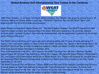 Global Amateur Golf Championship Tour Comes to the Carolinas