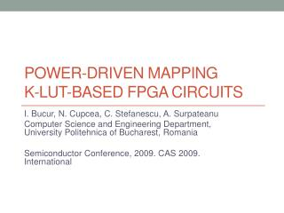 POWER-DRIVEN MAPPING  K-LUT-BASED FPGA CIRCUITS