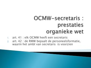 OCMW-secretaris : prestaties organieke wet