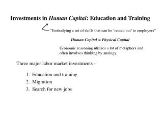 Investments in  Human Capital : Education and Training
