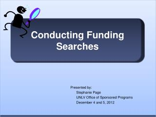 Conducting Funding Searches