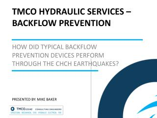TMCO HYDRAULIC SERVICES –   BACKFLOW PREVENTION