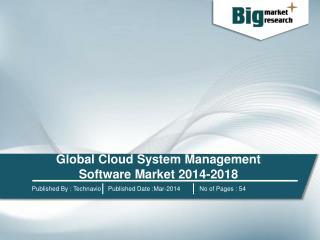 Global Cloud System Management Software Market 2014-2018