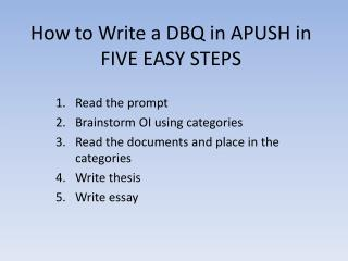 How to Write a DBQ in APUSH in FIVE EASY STEPS