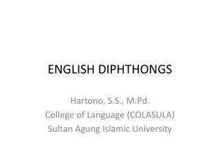 ENGLISH DIPHTHONGS