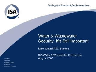 Water & Wastewater Security  It's Still Important