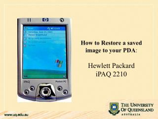 How to Restore a saved image to your PDA : Hewlett Packard  iPAQ 2210