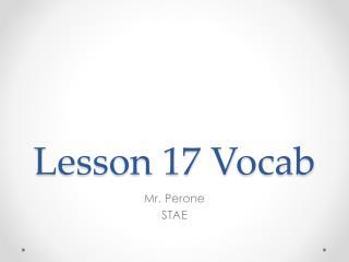 Lesson 17 Vocab