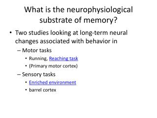 What is the  neurophysiological  substrate of memory?