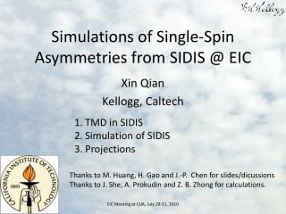 Simulations of Single-Spin Asymmetries from SIDIS @ EIC