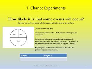 1: Chance Experiments