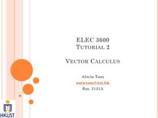 ELEC 3600 Tutorial 2 Vector Calculus