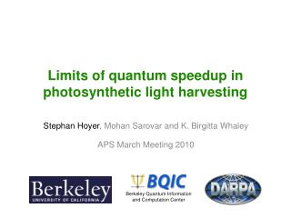 Limits of quantum speedup in photosynthetic light harvesting