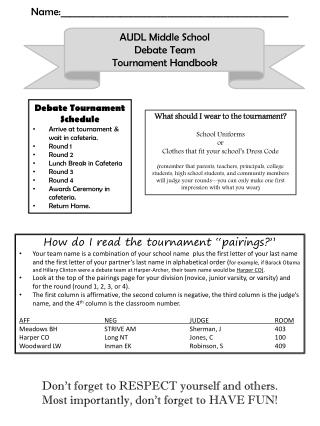 AUDL Middle School  Debate Team Tournament Handbook