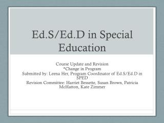 Ed.S/Ed.D  in Special Education