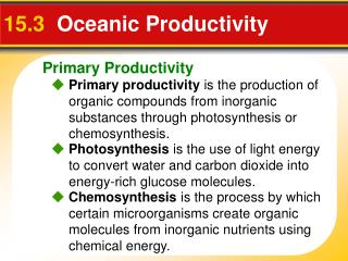15.3   Oceanic Productivity