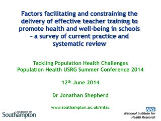 Tackling  Population Health Challenges Population Health USRG Summer Conference 2014