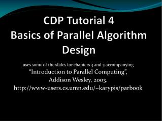 CDP Tutorial  4 Basics of Parallel Algorithm  Design